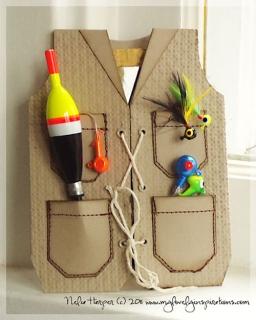 tarjeta para día del padre con motivos de pesca