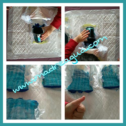 Imagen del experimento realizado con pañales Dodot.