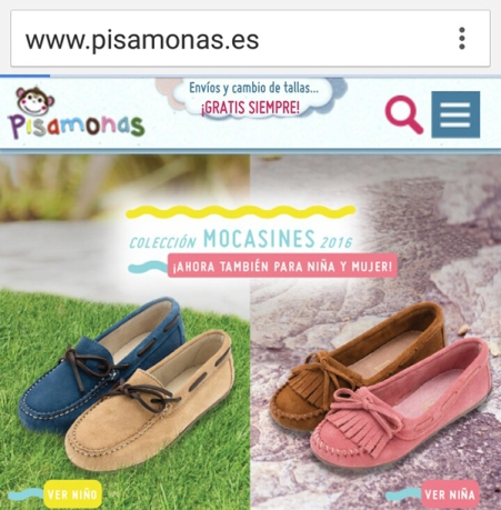 Imagen de la tienda de zapatos on line Pisamonas