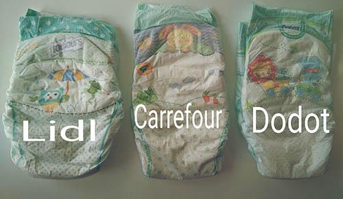 Imagen la comparativa de los pañales Lidl, Carrefour y Dodot